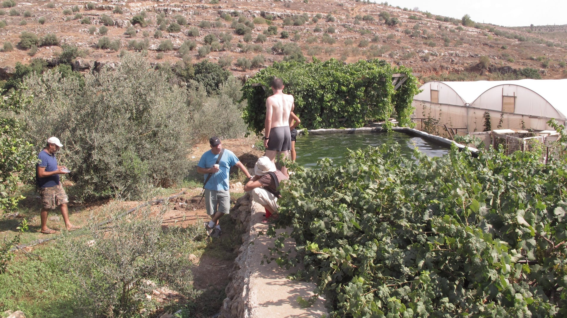 Armed hikers at the Palestinian village of Wadi Fukin, in the West Bank.
