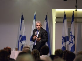 Yair Lapid at a party event in Nahariya.
