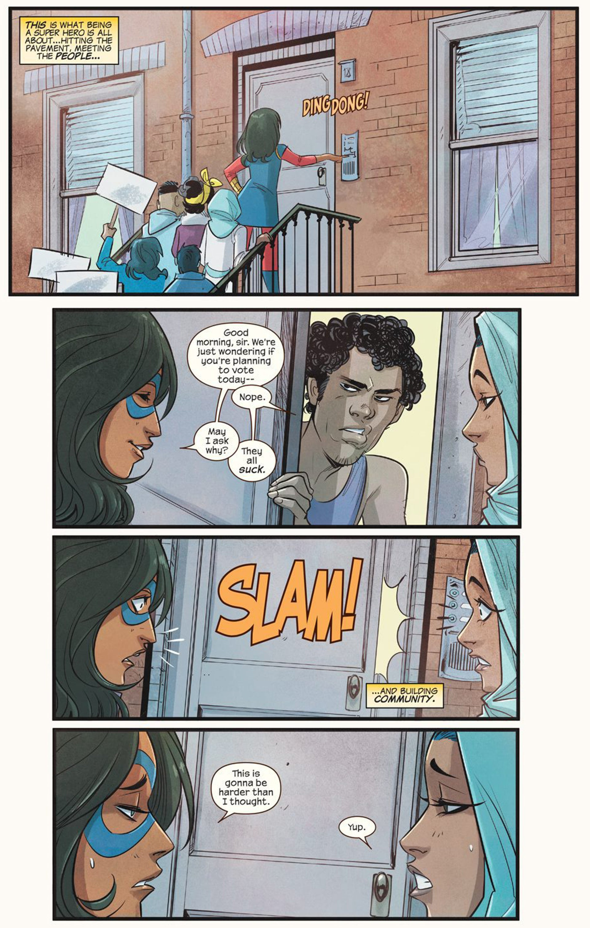 This comic book image released by Marvel Comics shows character Kamala Khan fighting for the right to vote.