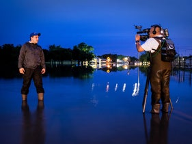 A LiveU broadcast reporting on flooding in Texas, 2015.
