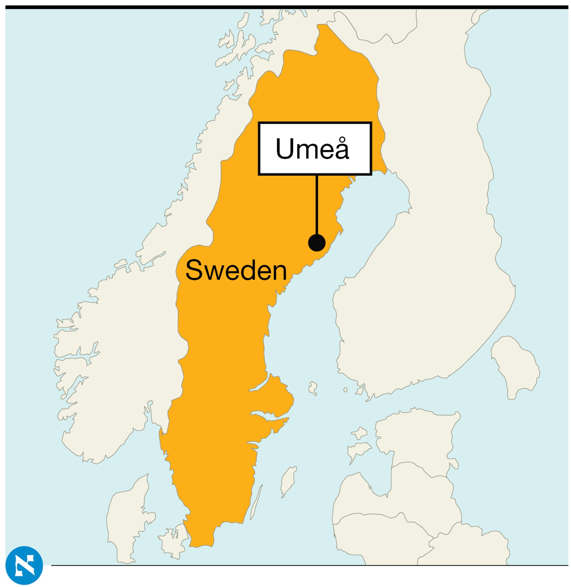 A map of Sweden, showing the location of Umeå along the country's northeast coast.