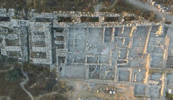 Aerial view of the palatial building found in ancient Gezer, which archaeologists have tentatively dated to King Solomon's time.