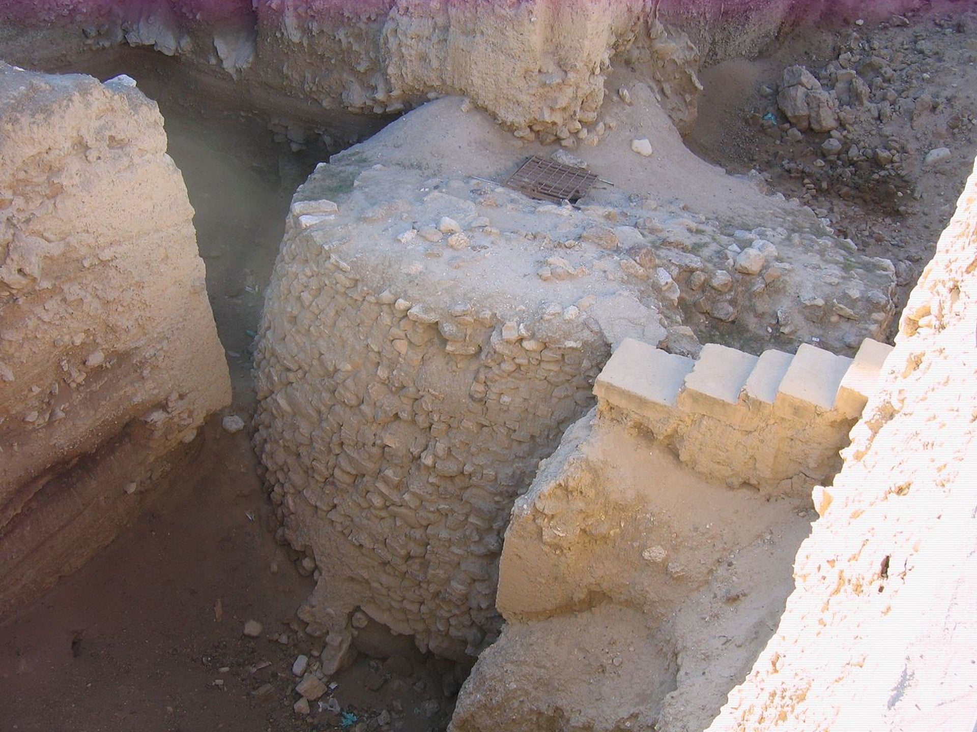 The Tower of Jericho, an 8.5-meter tall stone structure found in ancient Jericho, dating back some 10,000 years. Nine meters at he base, it rises to a width of seven meters on top and has walls almost 1.5 meters thick, making  it among the earliest fortifications known to man.