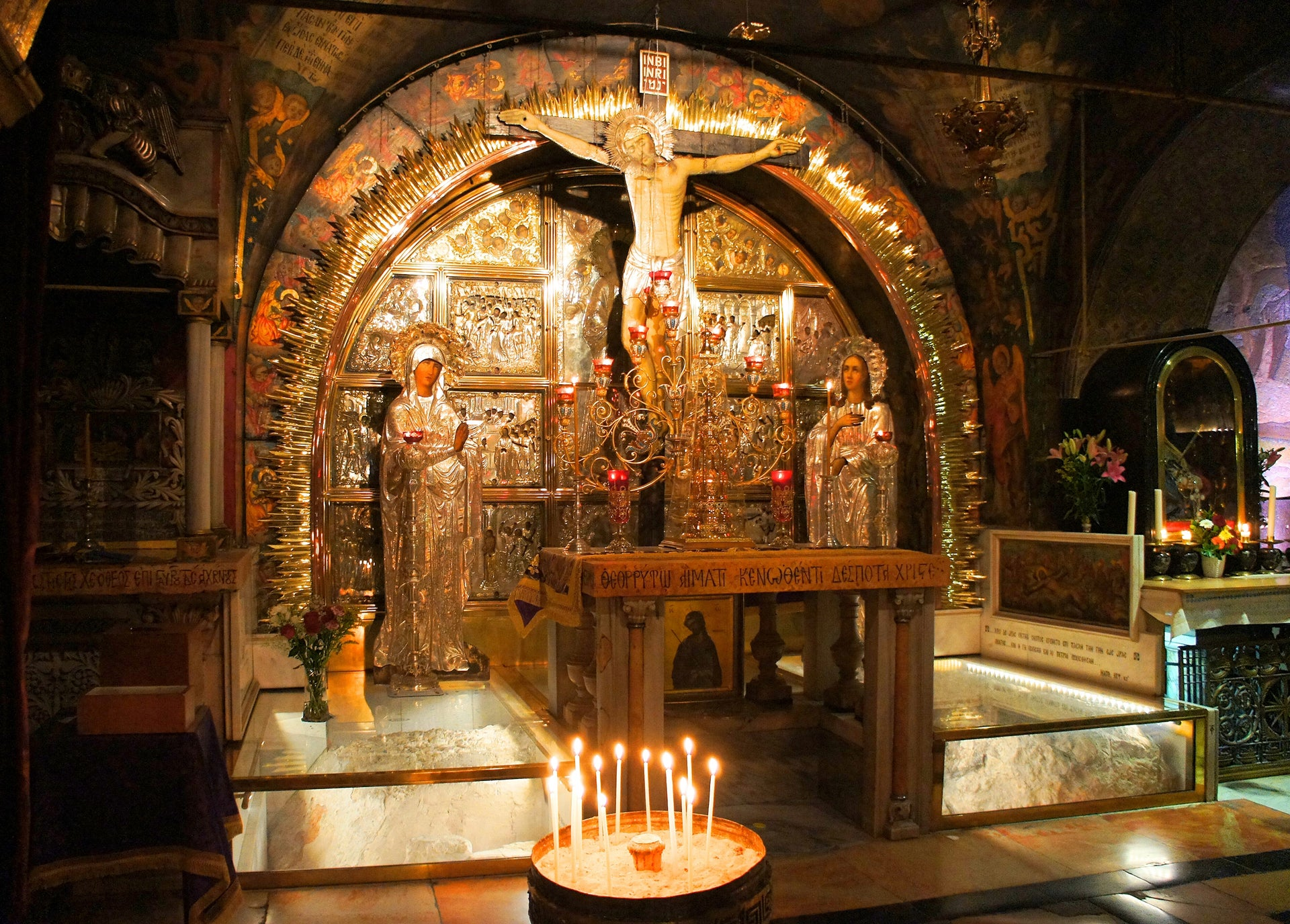 Traditional site of Golgotha, within the Church of the Holy Sepulchre.