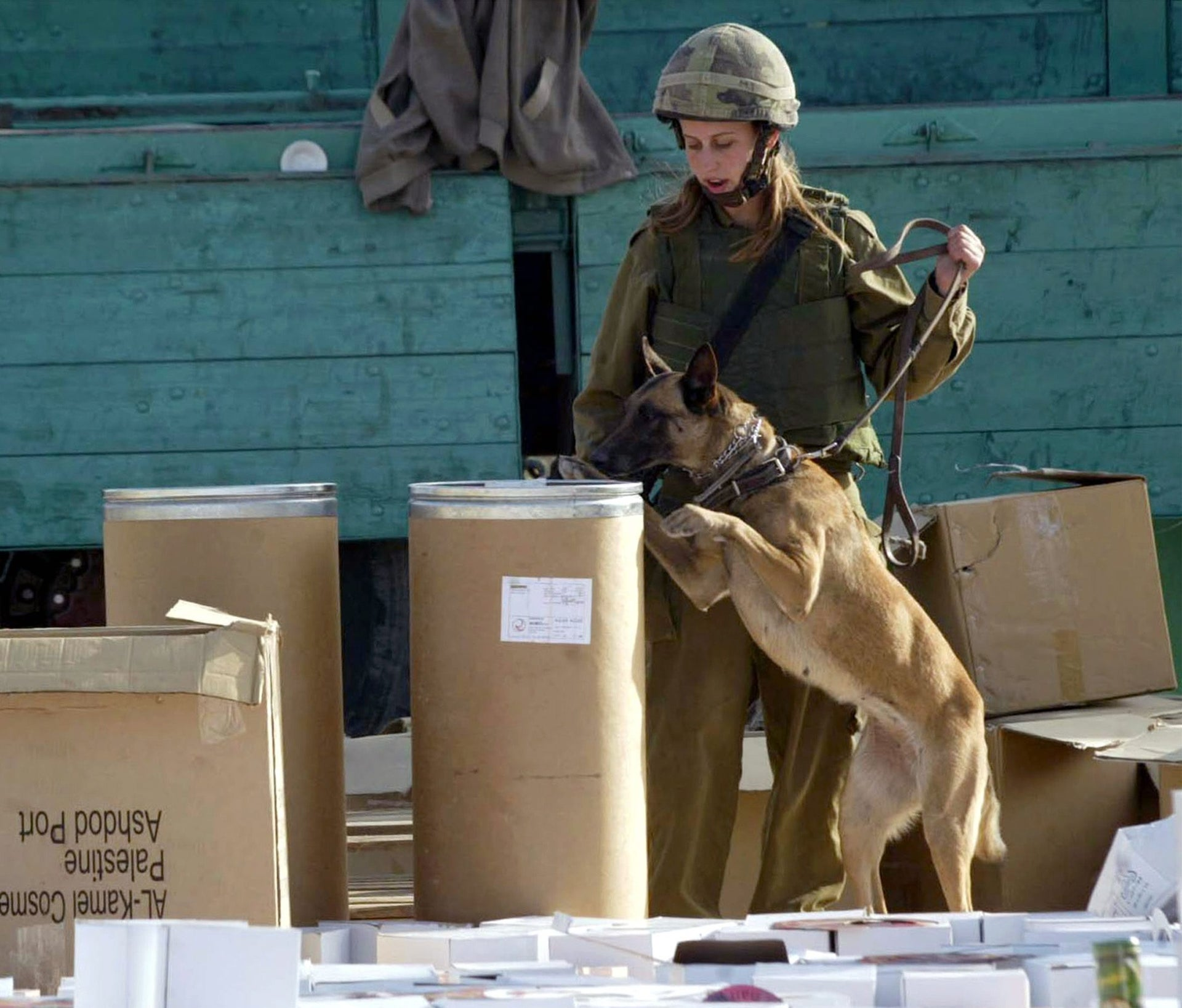 An archive photo showing an Israeli soldier checking boxes from a Palestinian truck with a sniffer dog at the Awrta checkpoint, near the West Bank town of Nablus.