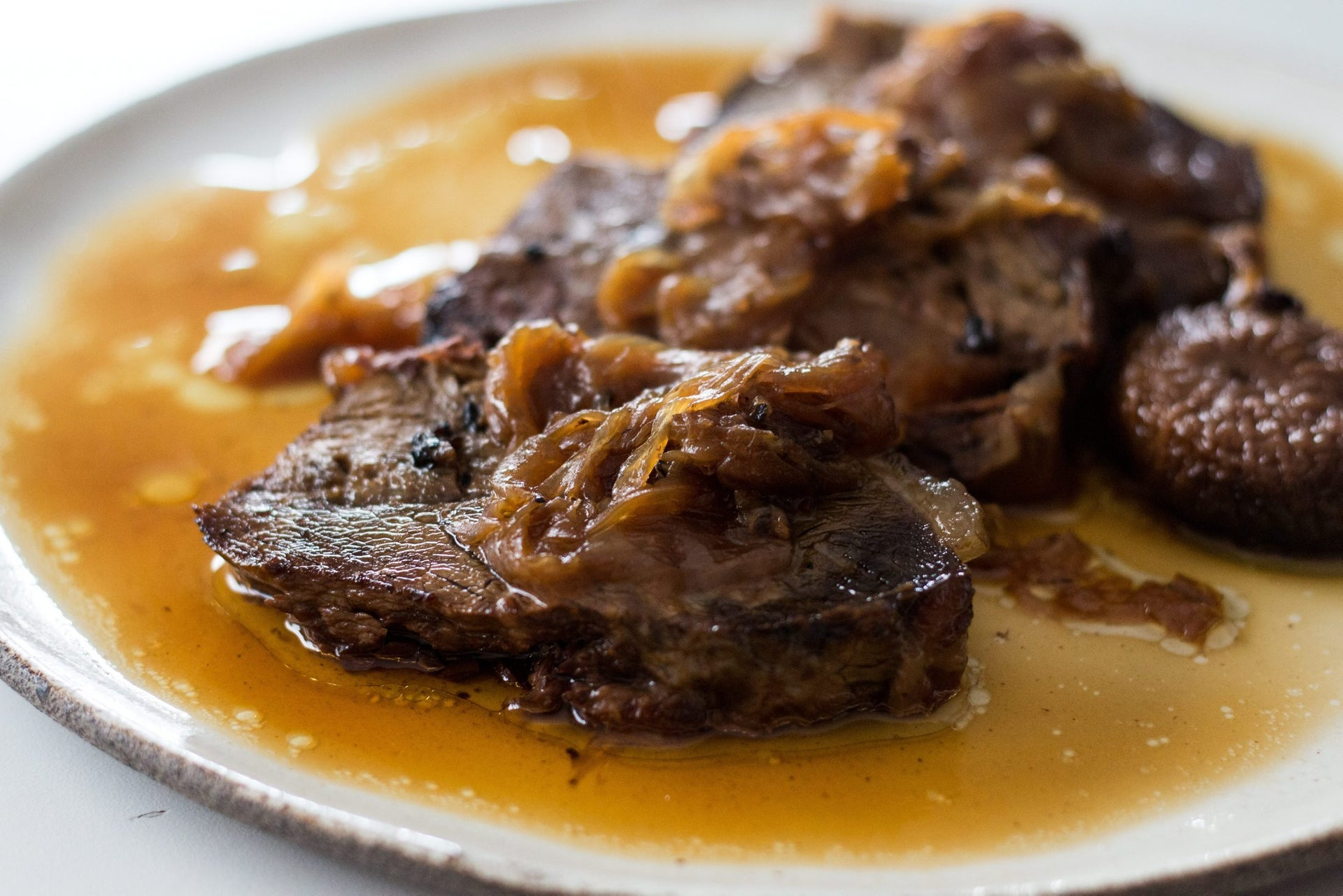 Beef shoulder roast with onions. Can be made ahead of time.