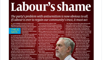 Jewish Chronicle of London anti-Labour cover