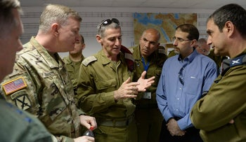 Deputy IDF Chief of Staff Yair Golan addresses Israeli and American officials and officers during a tour of Israeli military facilities involved in the joint 'Juniper Cobra 2016' drill, February 2016.