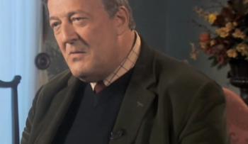Screen shot of Stephen Fry from February 2015 interview with Ireland's RTE television.