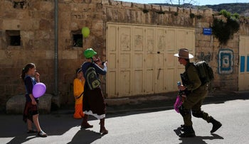 Purim in Hebron, 2015.