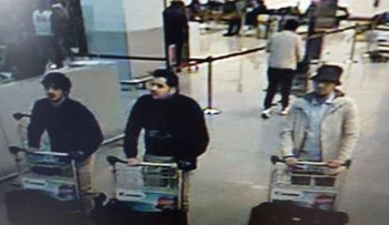 Three men who are suspected of taking part in the attacks at Belgium's Zaventem Airport. The man at right is still being sought by the police, while the two others were suicide bombers.