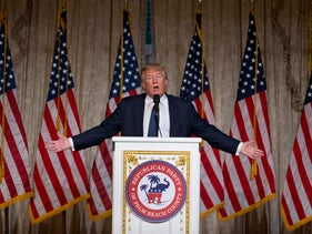 Republican presidential candidate Donald Trump speaks during an event in Florida, March 20, 2016.