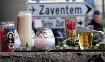 A street memorial to victims of Tuesday's Zaventem airport bombing, Brussels, Belgium, March 24, 2016.