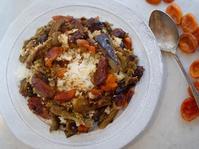 Eggplant, apricot and date polow.