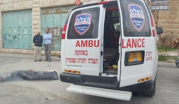 The scene of a stabbing attack at in Hebron in the West Bank on Thursday, March 24, 2016.