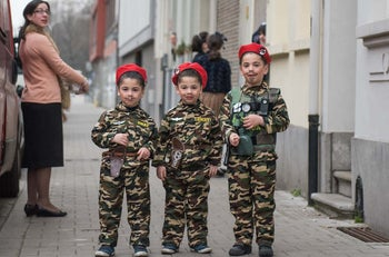 Jewish children in Antwerp, Belgium, dressed as soldiers on Purim, March 24, 2016.