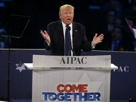 Donald Trump delivers his speech at the AIPAC conference, March 21, 2016.