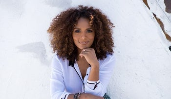 A photo of Janet Mock used to advertise her planned speech for Moral Voices at Brown University, March, 2016.