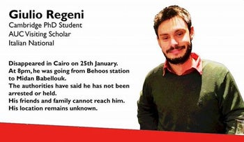 This file image was posted online after the Jan. 25, 2016 disappearance of Italian graduate student Giulio Regeni in Cairo, Egypt.