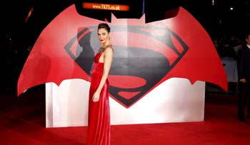 """Gal Gadot arrives for the European Premiere of """"Batman V Superman: Dawn of Justice"""" in Leicester Square in London, Britain, March 22, 2016."""