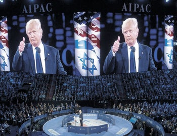 Donald Trump gives a thumbs-up as he addresses the American Israel Public Affairs Committee (AIPAC) 2016 Policy Conference at the Verizon Center in Washington, D.C., March 21, 2016.