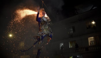 Mexican's set fire to an effigy of US Republican presidential candidate Donald Trump on  March 26, 2016 in Mexico City during Holy Week celebrations.