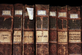 Ancient Hebrew books in the vaults of the Jewish Library in the Venice ghetto, northern Italy, March 22, 2016.