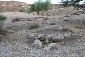 The remains of fortifications at Gath, which shows no signs of periodic destruction one would have expected if control of the ancient city had swung between Israelite and Philistine hands.
