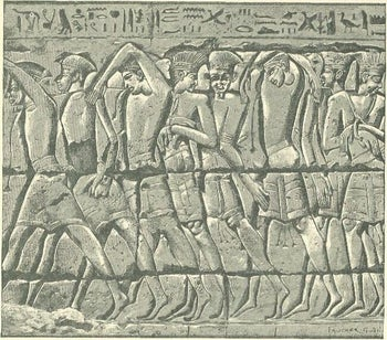 The so-called Peleset, who were apparently Philistine captives of the Egyptian armed forces, from a graphic wall relief at Medinet Habu; dating to about 1185-52 BCE, during the reign of Ramesses III.