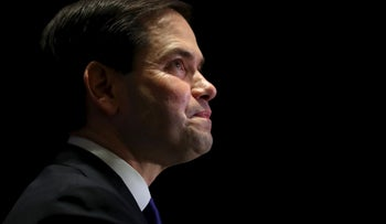 Republican U.S. presidential candidate Marco Rubio announces the suspension of his presidential campaign during a rally in Miami, Florida March 15, 2016.