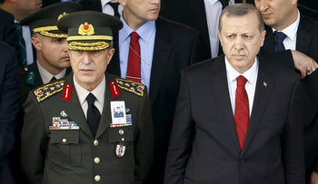 Turkish President Recep Tayyip Erdogan and Chief of Staff, General Hulusi Akar in the capital Ankara, February 18, 2016.