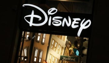 The logo of the Disney store on the Champs Elysee is seen in Paris, France, March 3, 2016.