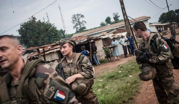 File Photo: Soldiers of the French Sangaris force patrolling in the Muslim neighborhood of Boda, a mainly Christian town in the south of the Central African Republic, on July 24, 2014.