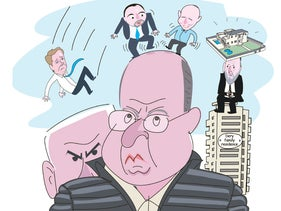 An illustration of Netanyahu looking over Ya'alon's shoulder as Lieberman and Bennett dance on the latter's head.