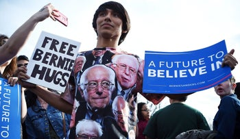 A Bernie Sanders supporter at the rally in Saint Mary's Park in Bronx, New York, on March 31, 2016.