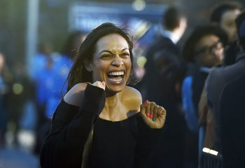Actress Rosario Dawson greets Sanders's supporters during a campaign rally at the Saint Mary's Park in Bronx, New York, on March 31, 2016.