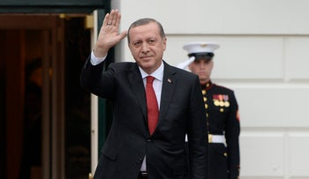 Recep Tayyip Erdogan, President of Turkey, arrives for a working dinner at the White House. Washington DC, March 31, 2016.