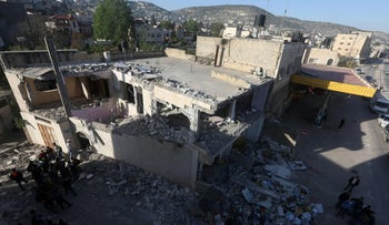 The house of one of the killers of an Israeli policewoman after it was demolished by the Israeli army, in Qabatiyah, April 4, 2016.