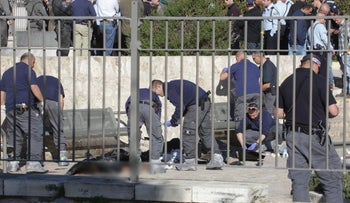 The aftermath of the incident on February 3, 2015, in which Border Policewoman Hadar Cohen, 19, of Or Yehuda, was killed by terrorists at Damascus Gate, the Old City of Jerusalem.