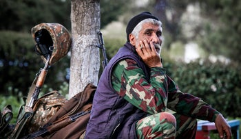 April 2, 2016, an Armenian volunteer is in a state of readiness in the town of Askeran in the separatist Nagorno-Karabakh region.