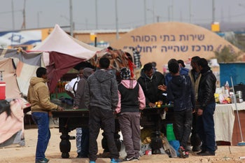 Asylum seekers and other foreign national, in the Holot detention facility in the Negev.