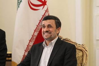 Iran's President Mahmoud Ahmadinejad at a meeting with his Pakistani counterpart in Tehran, on February 27, 2013.
