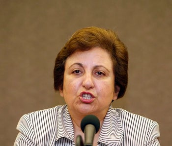 Iranian Nobel Peace Prize laureate Shirin Ebadi speaks to the media during a news conference in Seoul August 11, 2009.