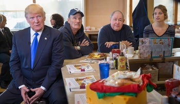 Republican presidential candidate Donald Trump waits to be interviewed by Fox News at a George Webb diner on April 5, 2016 in Wauwatosa, Wisconsin.