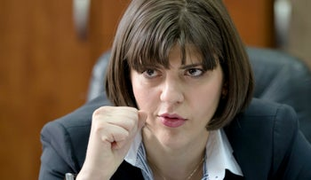 In this file picture taken on Wednesday, April 8, 2015 Laura Codruta Kovesi the chief prosecutor of Romania's anti-corruption authority, speaks during an interview in Bucharest, Romania.