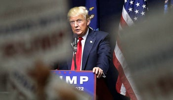 Republican presidential candidate Donald Trump speaks during a campaign rally in Bethpage, N.Y. on Wednesday, April 6, 2016.
