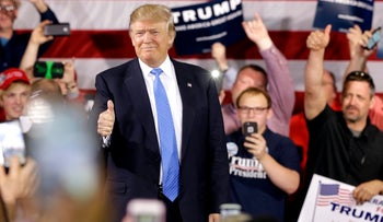 Donald Trump at a campaign stop in Janesville, Wisconsin, March 29, 2016.