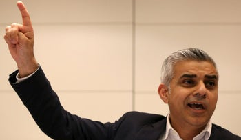 Britain's Labour Party Candidate for Mayor of London Sadiq Khan gestures during an event in London, Britain March 23, 2016.