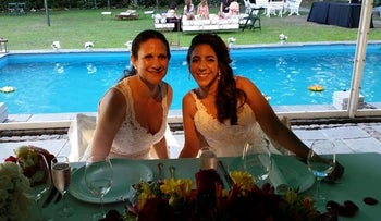 Vicky Escobar, left, and Romi Charur will be married at a synagogue in Argentina.