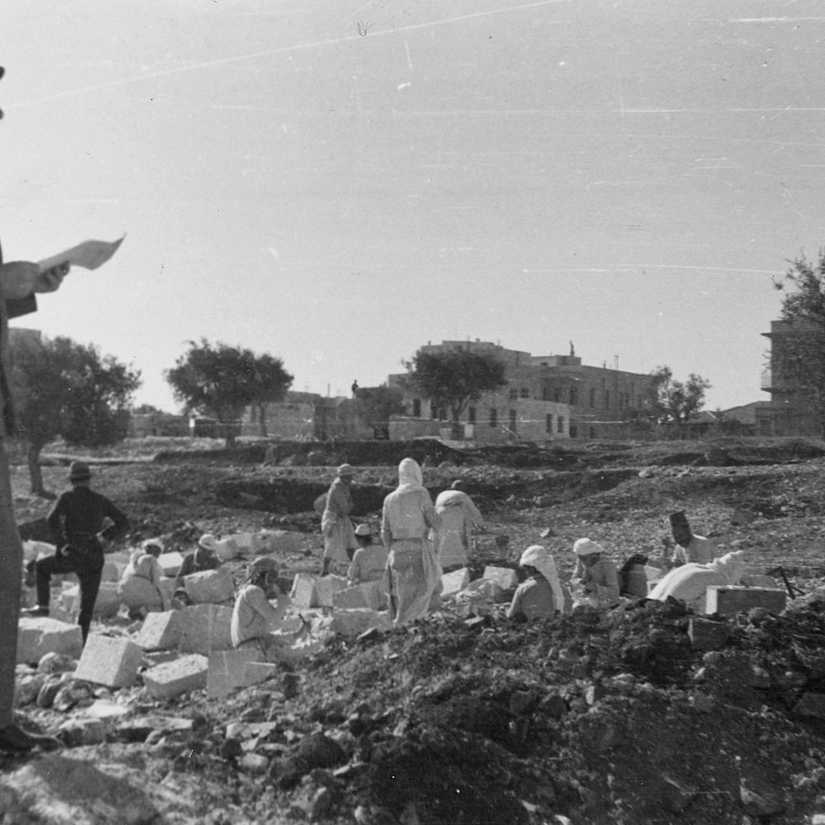 Architect Erich Mendelsohn at one of the sites of a Schocken project, in Jerusalem's Rehavia neighborhood.